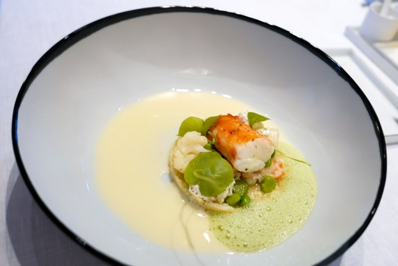 King Crab, green peas, vin jaune (yellow wine), cauliflower, chanterelle