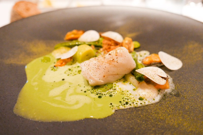 Codfish 'North Sea,' leek, buttermilk, beaufort