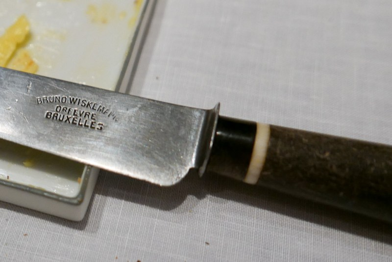 The carbon steel knives are hand-cleaned twice a day to keep their shine.