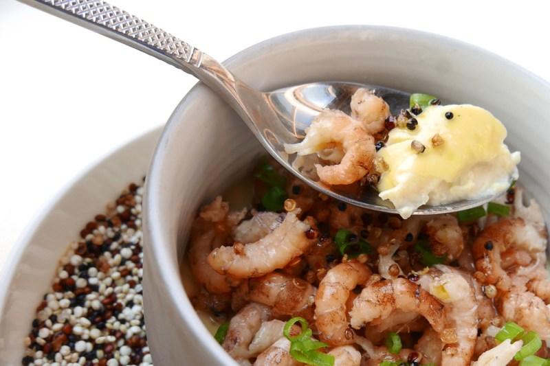 Crème brulee, cauliflower, North Sea shrimp, quinoa,  leeks, vervain