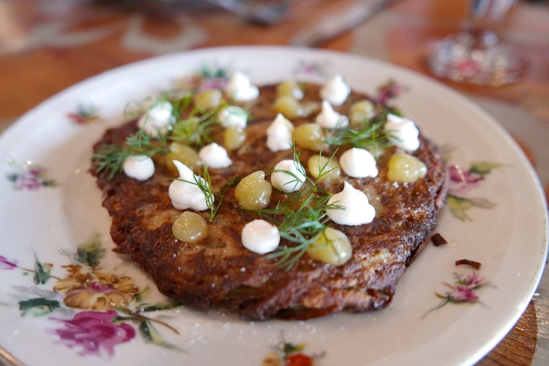 Potato Pancake, sour cream, apple preserves, dill