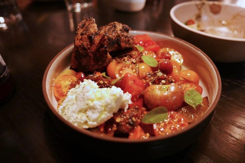 Heirloom Tomatoes + Plum, Fresh Cheese, Garlic Bread