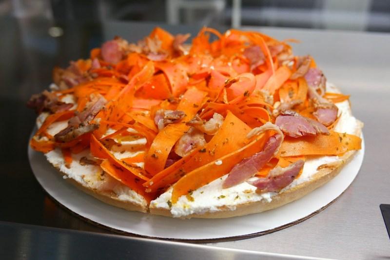 Carrot, pancetta, goat cheese tart