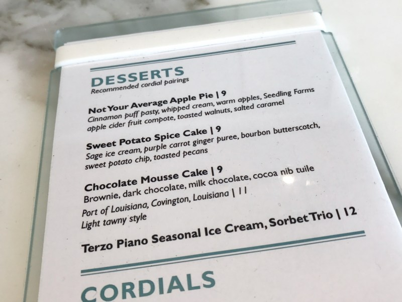 Seasonal Dessert Menu at Terzo Piano