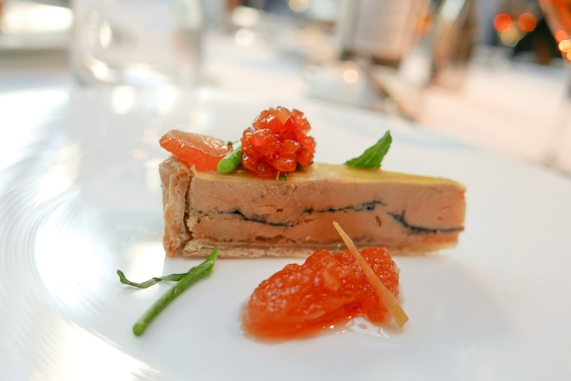 Foie Gras Tart with Quince Braised in White Wine & Spigarello