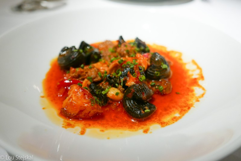 Squid Ink Lumache, Lobster, Chorizo, Peppers