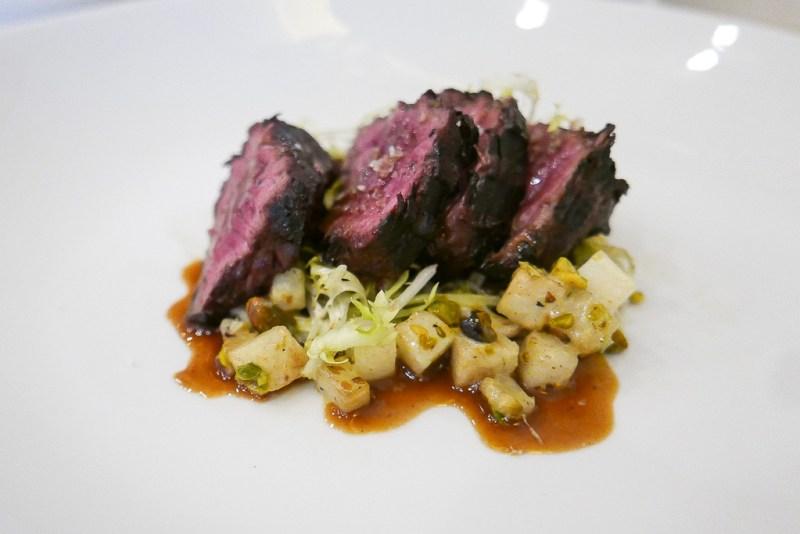 Grilled Hanger Steak, roasted celeriac, pistachio, pear, buttermilk