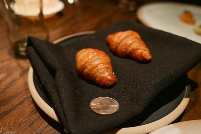 Tiny black truffle croissants
