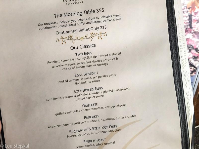 Breakfast menu at Le Hatley