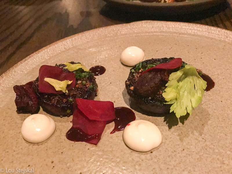 Charcoal Grilled Beets, buckwheat, sheep's milk yogurt, licorice ($23)