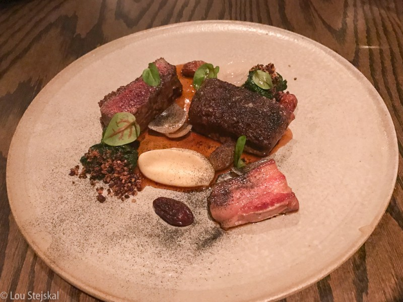 Roasted Lamb Loin & Belly, grapes, olives, swiss chard ($38)