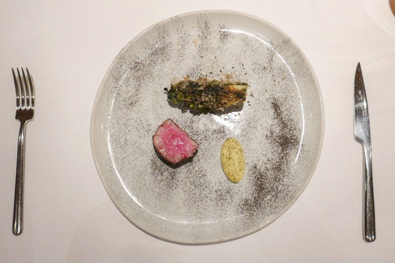 JAPANESE A5 WAGYUcharred little gem, furikake and sesame leaf