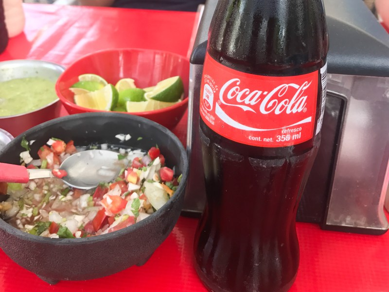 Pico de gallo and Coca-Cola