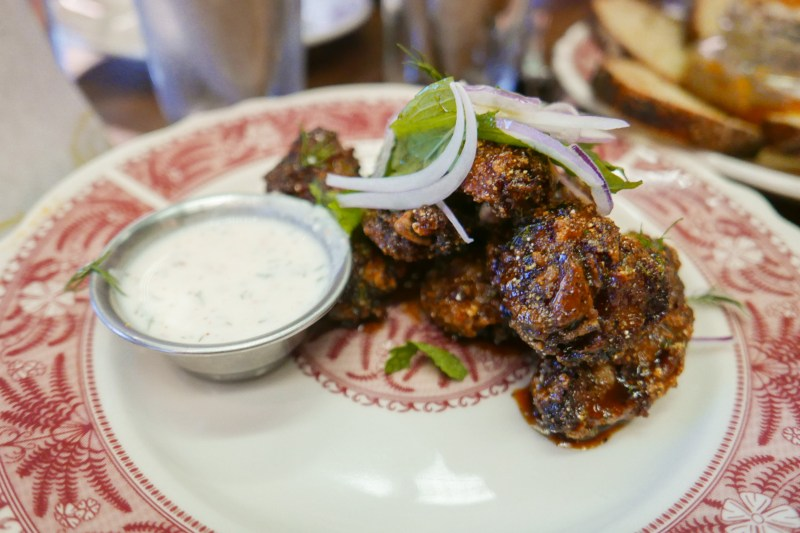 Chicken Wings, burnt chile, red onion, dill & yogurt ($13)