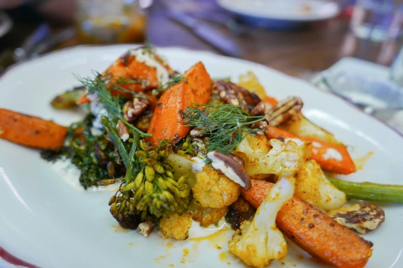 Wood Oven Roasted Vegetables, pecan, bbq spice & creamy herb dressing ($14)