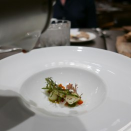Strawberry gazpacho, baby fennel, piquillo pepper, capers ($12) [1/2 portion shown]