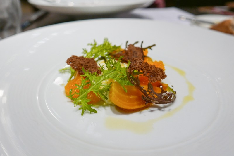 Baby beets, clementines, burrata, aniseed viaigrette ($13)