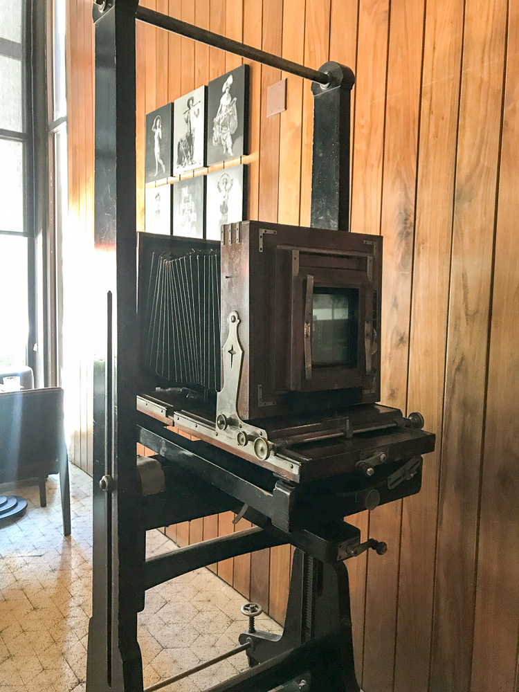 A circa 1870's camera is on display in the bar area at Sepia