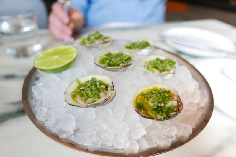 Clams with Cucumber and Jalapeño ($16)