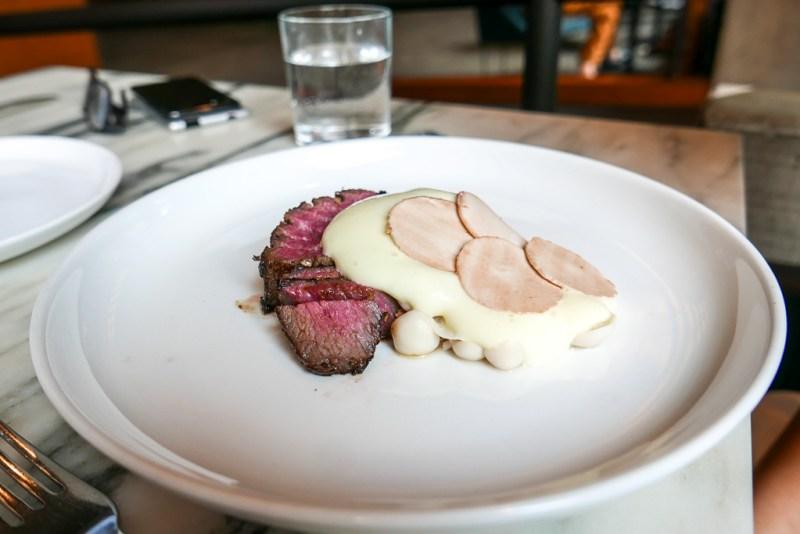Steak with Asparagus, Black Truffles and Béarnaise ($33)
