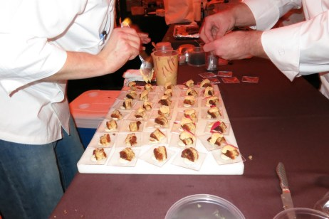 Assembly of Foie Gras Mousse by Dale Levitski of Sprout. This bite was spectacular.