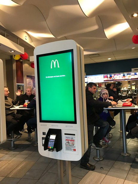 Orders are placed using an electronic kiosk
