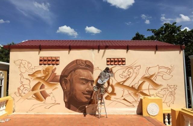 FONKi a peint les murs de l'Unesco Cambodge début juin. Crédit photo : Page Facebook de FONKi