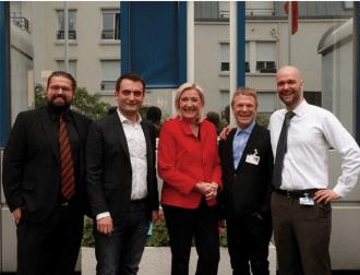 Les fondateurs de Horizon Québec Actuel avec Marine Le Pen et Florian Philippot - crédit: gracieuseté Actuel