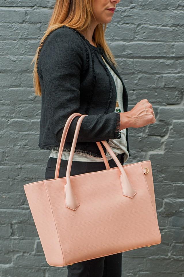 Dagne Dover 15-inch tote Pale Pink Stingray (3)