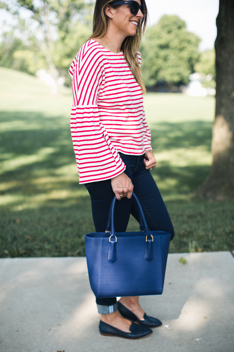 J.Crew Stripe Bell Sleeve T-Shirt | red stripe tee | red white and blue | fall preppy outfits