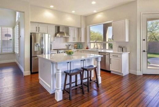 Stunning Wood Floor Ideas To Beautify Your Kitchen Room 20