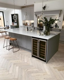 Stunning Wood Floor Ideas To Beautify Your Kitchen Room 35