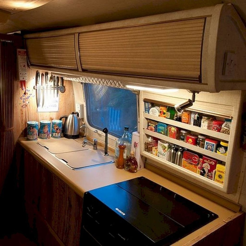 Best RV Kitchen Storage Ideas For Cozy Cook When The Camping 47