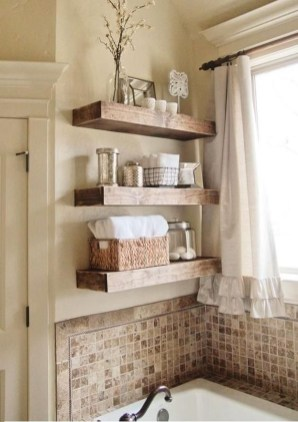 Inspiring Bathroom Decoration Ideas With Wooden Storage 18