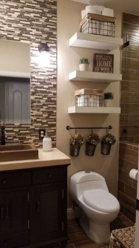Inspiring Bathroom Decoration Ideas With Wooden Storage 45
