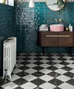 Impressive Black Floor Tiles Design Ideas For Modern Bathroom 11