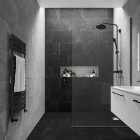 Impressive Black Floor Tiles Design Ideas For Modern Bathroom 13