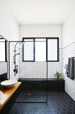 Impressive Black Floor Tiles Design Ideas For Modern Bathroom 25