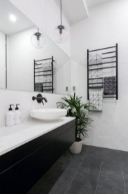 Impressive Black Floor Tiles Design Ideas For Modern Bathroom 31