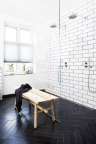 Impressive Black Floor Tiles Design Ideas For Modern Bathroom 38
