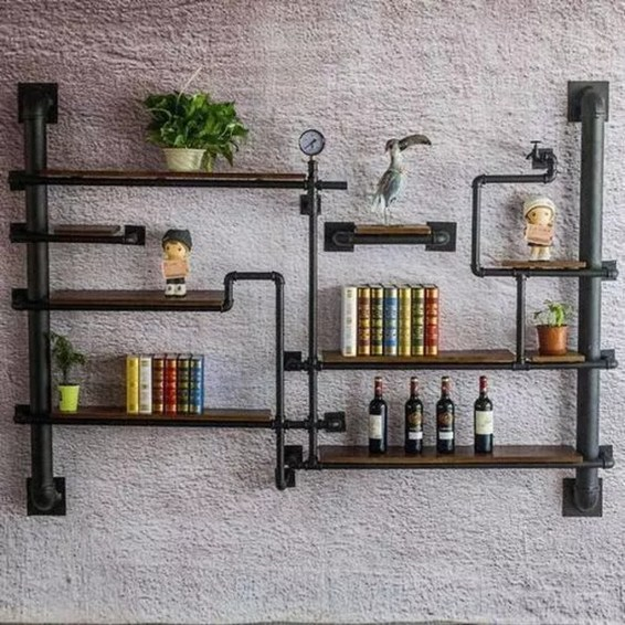 Innovative DIY Industrial Pipe Shelves You Can Make At Home 51