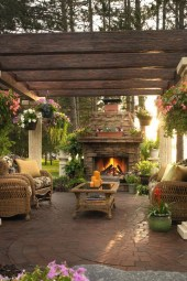Marvelous Backyard Fireplace Ideas To Beautify Your Outdoor Decor 19