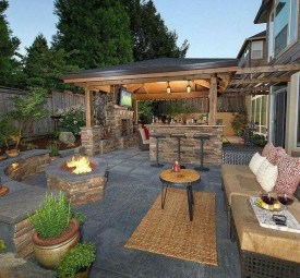 Marvelous Backyard Fireplace Ideas To Beautify Your Outdoor Decor 23