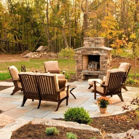 Marvelous Backyard Fireplace Ideas To Beautify Your Outdoor Decor 30
