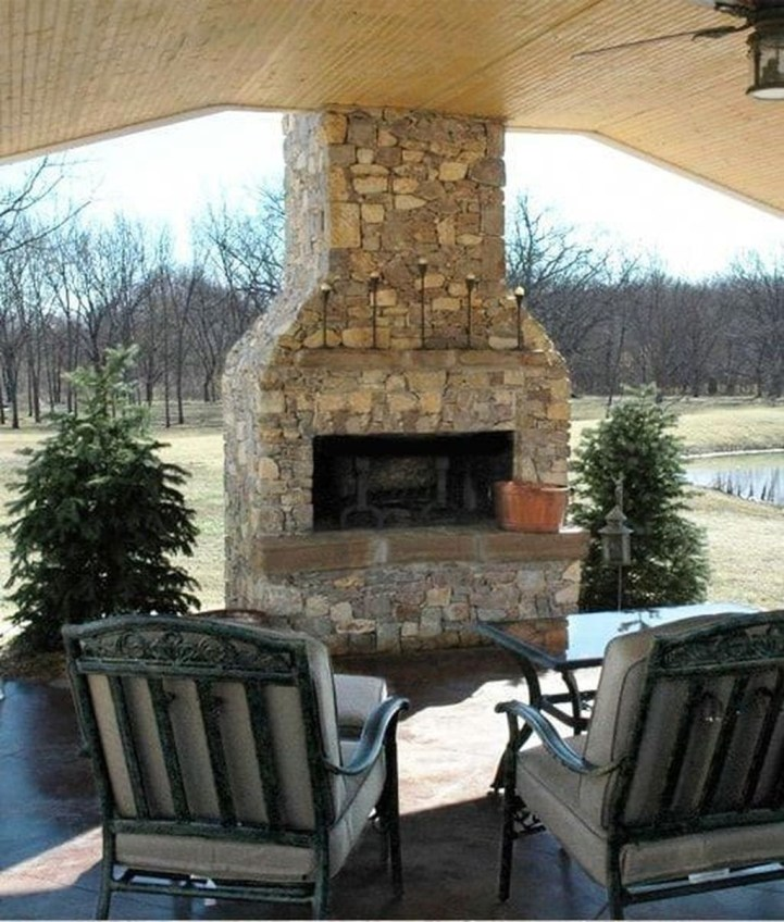 Marvelous Backyard Fireplace Ideas To Beautify Your Outdoor Decor 32