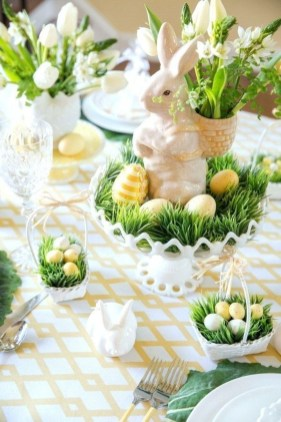 Superb Easter Table Decoration Ideas To Give Your Tablescape A Festive Vibe 34