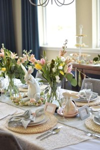 Superb Easter Table Decoration Ideas To Give Your Tablescape A Festive Vibe 39