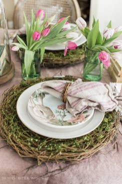 Superb Easter Table Decoration Ideas To Give Your Tablescape A Festive Vibe 43
