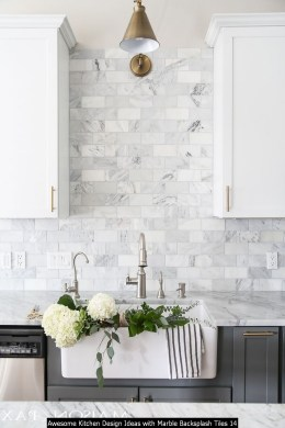 Awesome Kitchen Design Ideas With Marble Backsplash Tiles 14