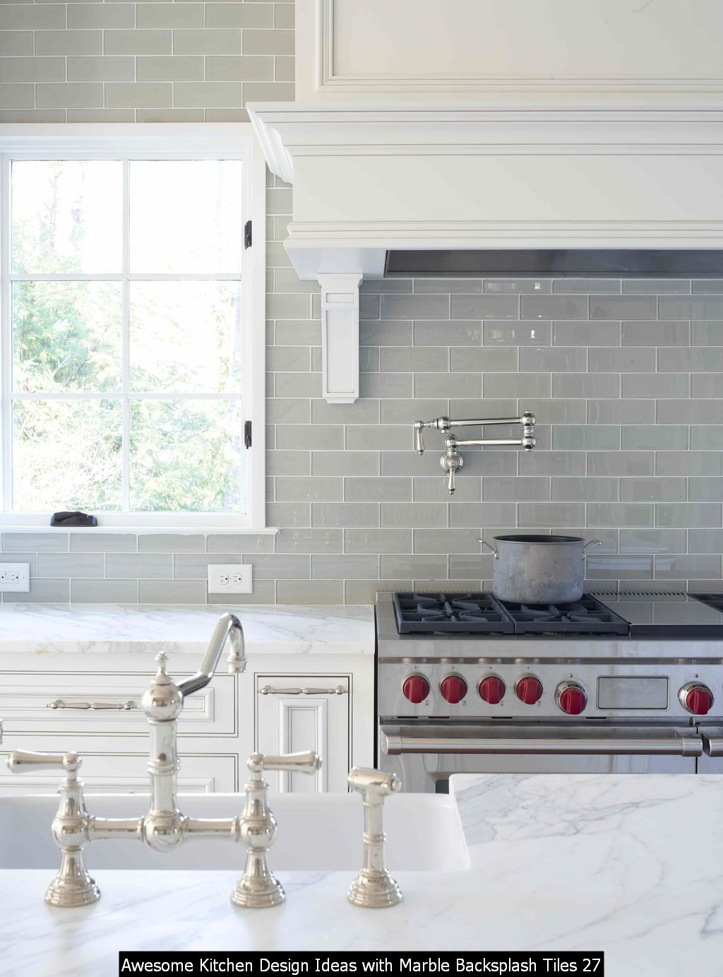 Awesome Kitchen Design Ideas With Marble Backsplash Tiles 27